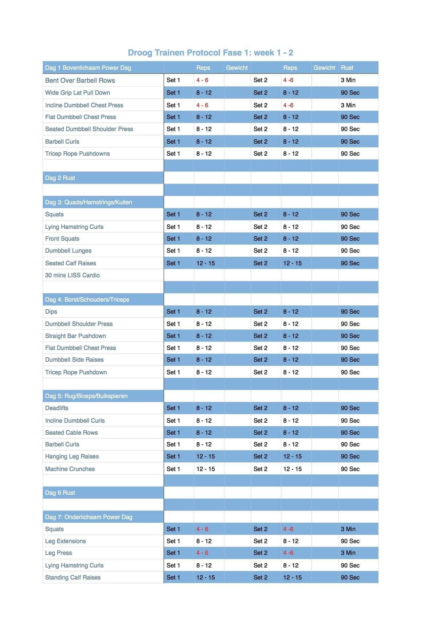 droog trainen protocol schema training pdf
